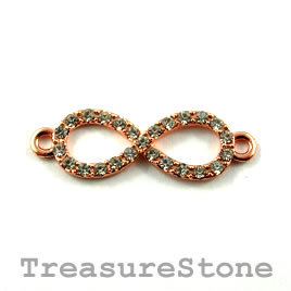 Link/connector, rose gold+crystal, 10x30mm infinity. Sold each.