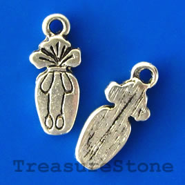 Charm, silver-finished, 6x15mm. Pkg of 12.