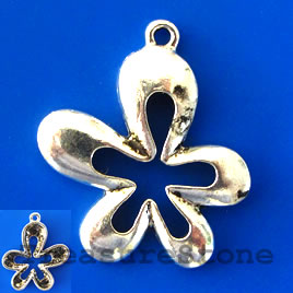 Charm/pendant, antiqued silver-finished,28x30mm flower. Pkg of 2