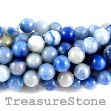 Bead, blue aventurine, 8mm round. 15.5-inch, 47pcs.