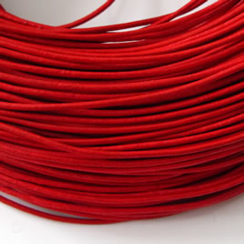 Cord, leather, red 1.5mm. Sold per 2-meter section