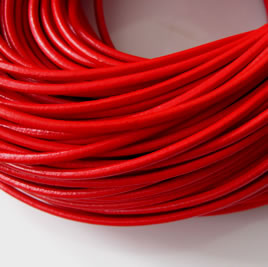 Cord, leather, red, 3mm. Sold per 2-meter section