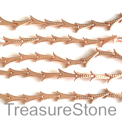 Bead, hematite (manmade), 8x14mm rose gold tower. 16-inch, 33pcs