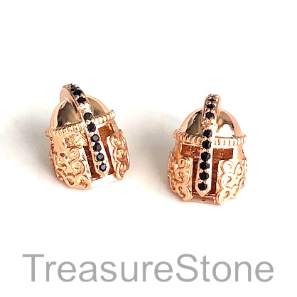 Bead, brass, 14mm rose gold warrior helmet with crystals. Each