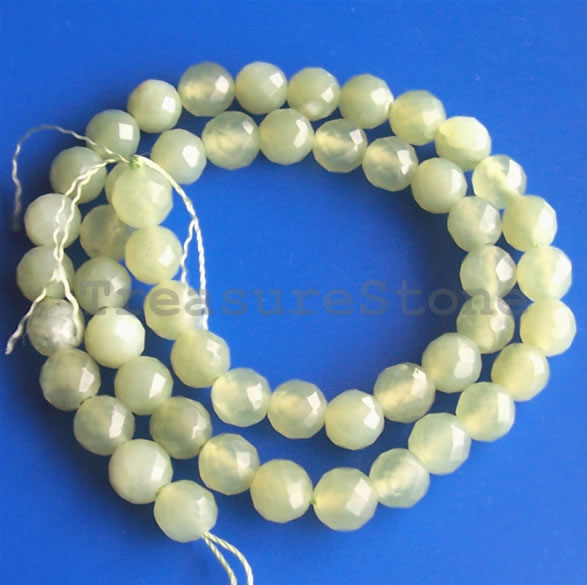 Bead, new jade, 8mm faceted round. 16-inch strand.