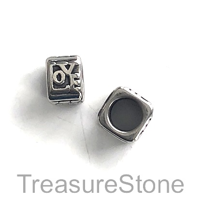 Bead, stainless steel, 7x9mm LOVE, large hole, 6.5mm. Each
